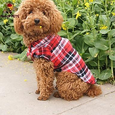Γάτα Σκύλος Φανέλα Ρούχα για σκύλους Καρό/Τετραγωνισμένο Κόκκινο Πράσινο Μπλε Βαμβάκι Στολές Για κατοικίδια Στολές Ηρώων Γάμος