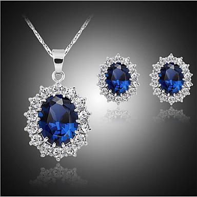 합성 사파이어 쥬얼리 세트 - 모조 큐빅, 은 도금, 모조 다이아몬드 사치, 파티, Plaited 포함 블루 제품 파티 / 생일 / 약혼 / 귀걸이 / 목걸이