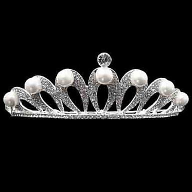 sztuczna perła ze stopu rhinestone w stylu tiary z eleganckim hełmem