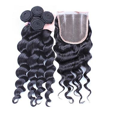 Бразильские волосы Свободные волны Ткет человеческих волос 4 предмета Волосы Уток с закрытием