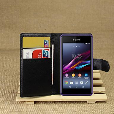 Pouzdro Uyumluluk Sony Xperia Z2 / Sony Xperia M2 / Diğer Sony Kılıf Cüzdan / Kart Tutucu / Satandlı Tam Kaplama Kılıf Solid Sert PU Deri için Sony Xperia Z2 / Sony Xperia M2 / Other