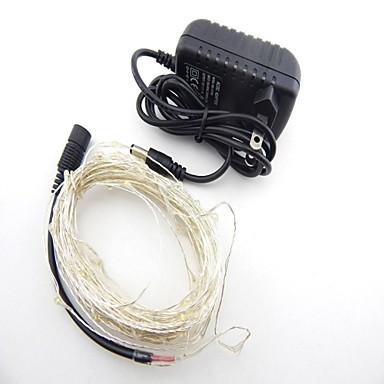billige LED Strip Lamper-ZDM® 10 m Lysslynger 100 LED SMD 0603 1 x 2A strømadapter Varm hvit / Kjølig hvit / Rød Vanntett / Fest / Dekorativ 12 V 1set / IP65