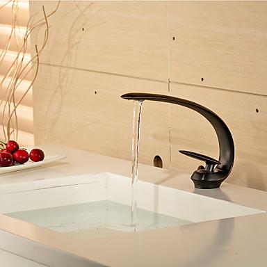 Çağdaş Tek Gövdeli Seramik Vana Tek Delik Tek Kolu Bir Delik Yağlı Bronz, Banyo Lavabo Bataryası
