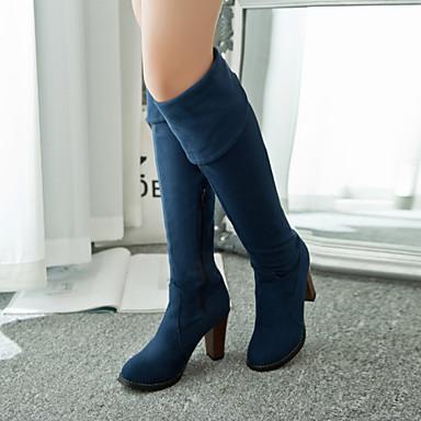 Жен. Обувь Дерматин Зима Осень сутулятся сапоги На толстом каблуке 51 см и выше Сапоги выше колена для Повседневные на открытом воздухе
