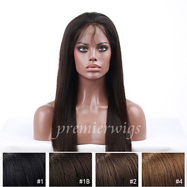 Ekte hår Helblonde Parykk Rett Parykk 130% Naturlig hårlinje / Afroamerikansk parykk / 100 % håndknyttet Dame Kort / Medium / Lang Blondeparykker med menneskehår