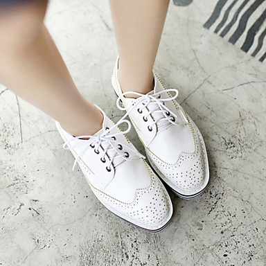 Blanc Femme Noir Eté Chaussures Argent Bas Lacet Talon Similicuir 03964176 Printemps Automne fq7Bx8f1w