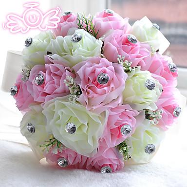 Hochzeitsblumen Sträuße Hochzeit Perlen Polyester Satin Schaum 28 cm ca.