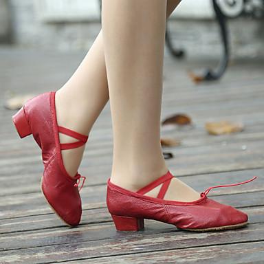 Damen Balletschuhe Leder Gespaltene Sole Schnürsenkel Blockabsatz Keine Maßfertigung möglich Tanzschuhe Schwarz / Rot / Rosa