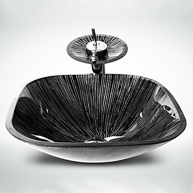 Σύγχρονο Τετράγωνο νεροχύτη Υλικό είναι Σκληρυμένο Γυαλί Νιπτήρας μπάνιου Βρύση μπάνιου Κρίκος πετσετών μπάνιου Σωλήνας Αποστράγγισης