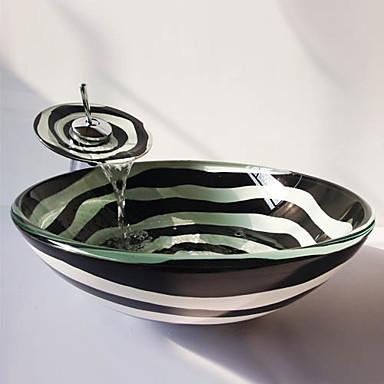 Banyo Lavabosu Banyo Musluğu Banyo Montaj Halkaları Banyo Su Drenajı Çağdaş - Temperli Cam Yuvarlak