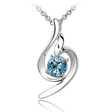 Kadın's Kristal Uçlu Kolyeler  -  Kristal Mavi, Pembe, Açık Mavi Kolyeler Uyumluluk Düğün, Parti