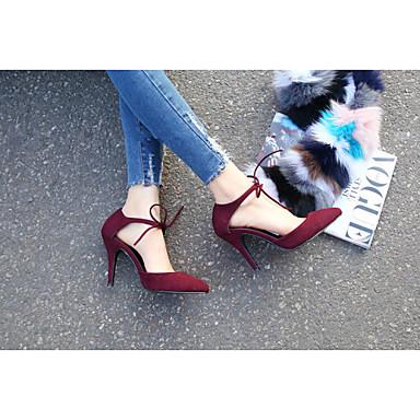 Verano 03841499 Negro Tacón Ante Borgoña Zapatos Stiletto Sintético Mujer wqZpPB7x