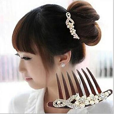 Seitenkämme Haarschmuck Kunststoff Perle Strass Steine Perücken Accessoires Damen 2pcs Stück 6-10cm cm Alltag Klassisch Gute Qualität
