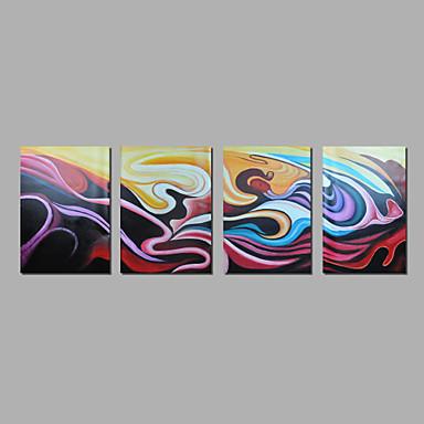 El-Boyalı Soyut / FanteziModern Dört Panelli Kanvas Hang-Boyalı Yağlıboya Resim For Ev dekorasyonu