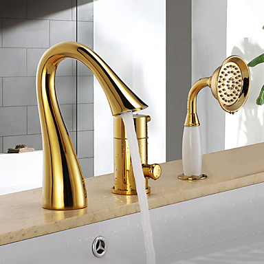 Bathtub Faucet - Antique Ti-PVD Tub And Shower Ceramic Valve / Single Handle Three Holes