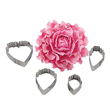 Vier c 4pcs rostfreiem Stahl Herz Pfingstrose Blume Biskuitkuchen Ausstechformen Backform Cookie Fondant, der Werkzeuge verziert