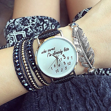 Kadın's Moda Saat Quartz PU Bant Siyah Beyaz