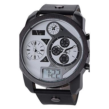 V6 Αντρικά Ρολόι Καρπού Χαλαζίας Γιαπωνέζικο Quartz LCD Ημερολόγιο Τριπλές Ζώνες Ώρας Αθλητικό Ρολόι Δέρμα Μπάντα Μαύρο Λευκό Μαύρο