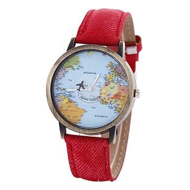 Жен. Модные часы Часы-браслет Кварцевый World Map Pattern PU Группа Винтаж Черный Белый Синий Красный Коричневый Хаки
