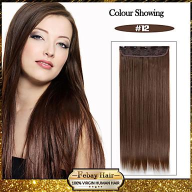 Μήκους 5 κλιπ ευθεία μέλι καφέ (# 12) συνθετικά μαλλιά κλιπ σε επεκτάσεις τρίχας για τις κυρίες