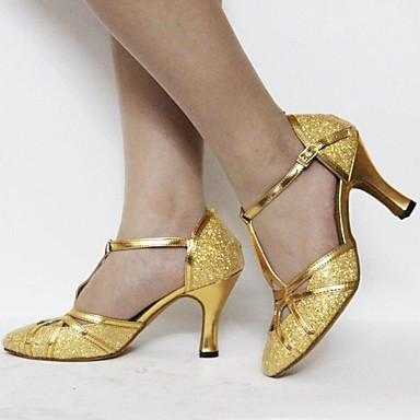 Damen Schuhe für modern Dance Paillette / Kunstleder Stöckelschuhe / Sandalen Innen / Anfänger Paillette / Glitter / Schnalle