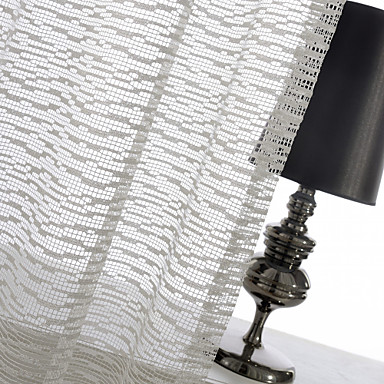 cheap Window Treatments-One Panel Ivory Mosaic Jacquard Sheer Curtain Drape