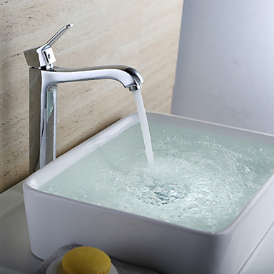 Contemporary Centerset Ceramic Valve One Hole Single Handle One Hole Chrome , Bathroom Sink Faucet