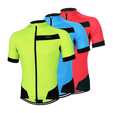 Arsuxeo Men's Short Sleeves Cycling Jersey - Red Light Blue Light Green Bike Jersey, Quick Dry, Anatomic Design, Breathable, Reflective