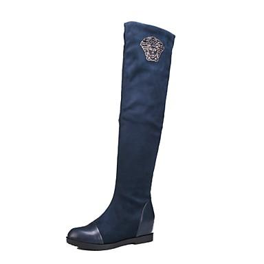 Γυναικεία Παπούτσια Φο Σουέτ Φθινόπωρο Χειμώνας Επίπεδο Τακούνι 50,8εκ ή ψηλότερη Μπότες πάνω από το Γόνατο για Causal Γραφείο & Καριέρα