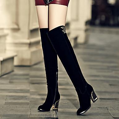 여성 구두 플리스 봄 가을 겨울 청키 굽 무릎 이상 높이 부츠 지퍼 제품 드레스 블랙