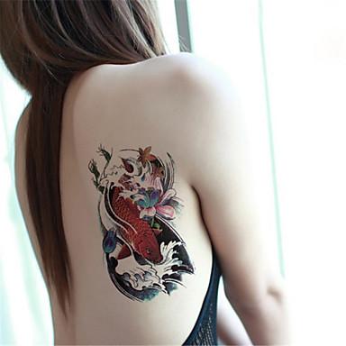 1Pcs Colored Carp Lotus Flower Pattern Temporary Body Art Tattoo Sticker