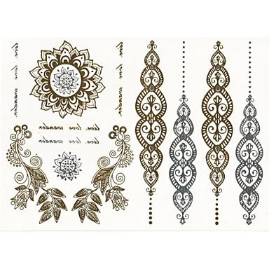 Naklejki z tatuażem Seria biżuterii Seria kwiatowa Non Toxic Plemienny Dolna część pleców WaterproofDamskie Męskie Dorosły Dla nastolatków