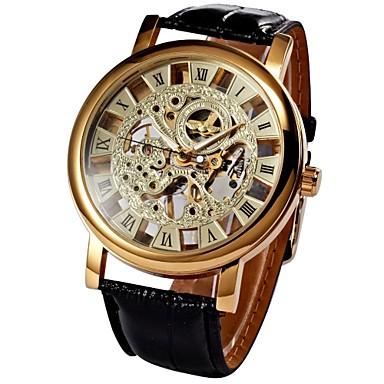 e2c6a9e72de2 WINNER Hombre Reloj Esqueleto Reloj de Pulsera El reloj mecánico Cuerda  Manual Cuero Sintético Acolchado Negro