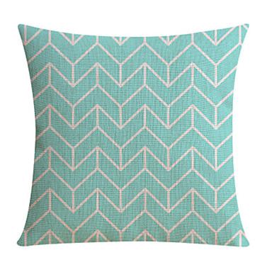 밝은 파란색 패턴면 / 린넨 장식 베개 커버를 잎