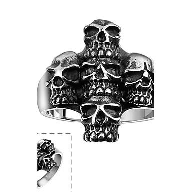 男性用 指輪 オリジナル ステートメントジュエリー ステンレス鋼 スカル ジュエリー Halloween 日常 カジュアル スポーツ