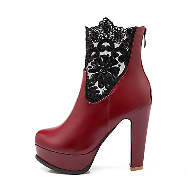 Γυναικείο Παπούτσια Δερματίνη Άνοιξη Φθινόπωρο Χειμώνας Κοντόχοντρο Τακούνι Μποτίνια Φερμουάρ Για Causal Φόρεμα Λευκό Μαύρο Κόκκινο