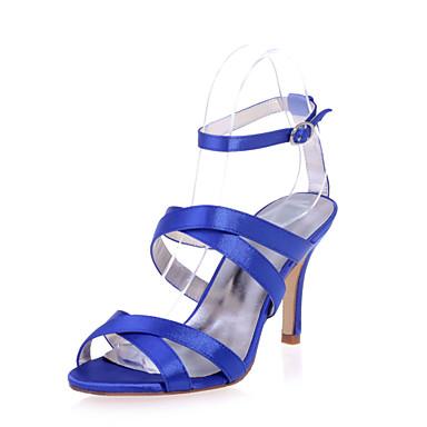 샌달 - 웨딩 / 파티/이브닝 - 여성의 신발 - 열린 앞코 - 새틴 - 스틸레토 굽 - 블랙 / 블루 / 핑크 / 퍼플 / 아이보리 / 화이트 / 샴페인
