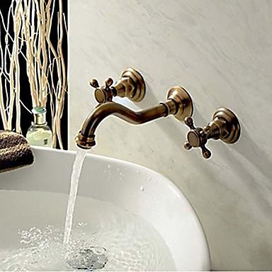 Πεπαλαιωμένο Επιτοίχιες Εκτεταμένο Κεραμική Βαλβίδα Τρεις Οπές Δύο λαβές τρεις οπές Πεπαλαιωμένος Χαλκός, Μπάνιο βρύση νεροχύτη