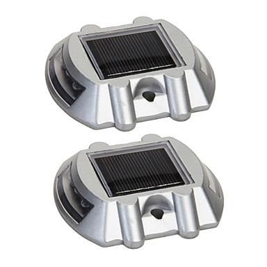 pack de 2 aluminium solaire 6-LED route extérieure Allée quai chemin  -lumière de la lampe