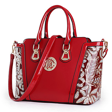 Women Bags All Seasons Patent Leather Shoulder Bag Tote for Shopping Casual Formal Office & Career Black Red Blue