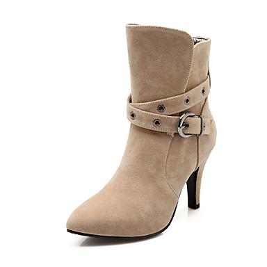 Støvler-Kunstlæder-Combat-støvler Modestøvler-Dame-Sort Rød Beige-Fritid Fest/aften-Stilethæl