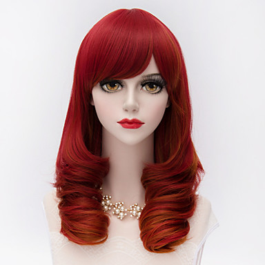 Sentetik Peruklar Kinky Curly Bantlı Sentetik Saç Kırmızı Peruk Kadın's Orta Cadılar Bayramı Peruk / Karnaval Peruk Bonesiz