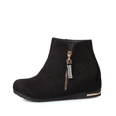 Γυναικείο Παπούτσια Φο Σουέτ Άνοιξη Φθινόπωρο Χειμώνας Τακούνι Σφήνα Μποτίνια Φερμουάρ Αλυσίδα Για Causal Φόρεμα Μαύρο Σκούρο μπλε Κόκκινο