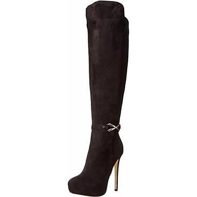 Γυναικεία Παπούτσια Φλις Δερματίνη Χειμώνας Φθινόπωρο Τακούνι Στιλέτο 30,48εκ - 35,56εκ Μπότες ως το Γόνατο για Γραφείο & Καριέρα Φόρεμα