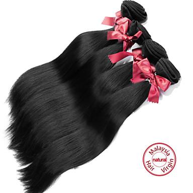 baratos Extensões de Cabelo Natural-4 pacotes Cabelo Malaio Liso 8A Cabelo Humano Ondulado Tramas de cabelo humano Extensões de cabelo humano / Reto