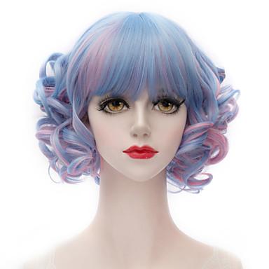 Парики из искусственных волос Kinky Curly С чёлкой плотность Без шапочки-основы Жен. Синий Карнавальный парик Парик для Хэллоуина Короткие