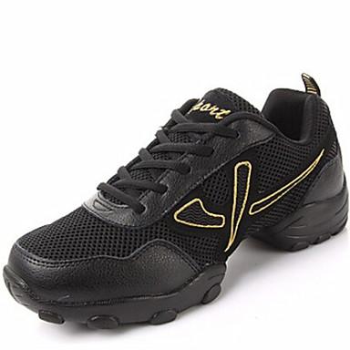Herrn Tanz-Turnschuh Leder Sneaker / Gespaltene Sole Schnürsenkel Niedriger Heel Keine Maßfertigung möglich Tanzschuhe Schwarz / Gold