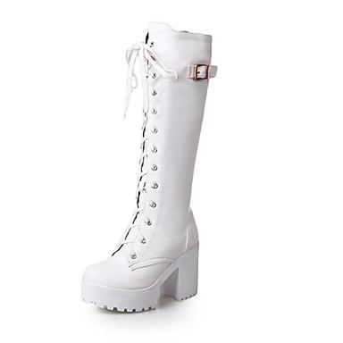 Жен. Обувь Дерматин Зима Осень сутулятся сапоги На толстом каблуке Блочная пятка Около 31 - 36 см Сапоги до колена Шнуровка для Для