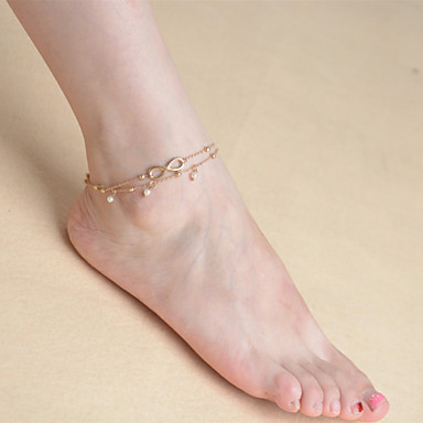 Pearl - Women's Screen Color Tassel Vintage Cute Party Work Casual Multi Layer Pearl Alloy Anklet For Daily