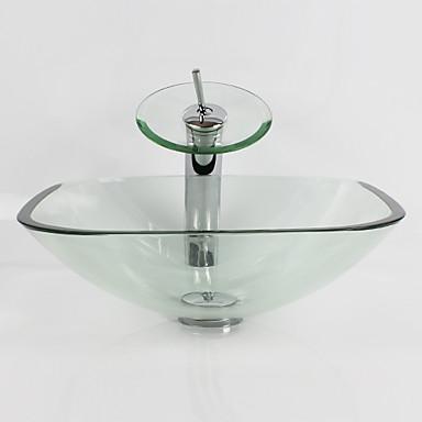 Baderomsvask / Baderomskran / Baderom Monteringsring Moderne - Herdet Glass Kvadrat